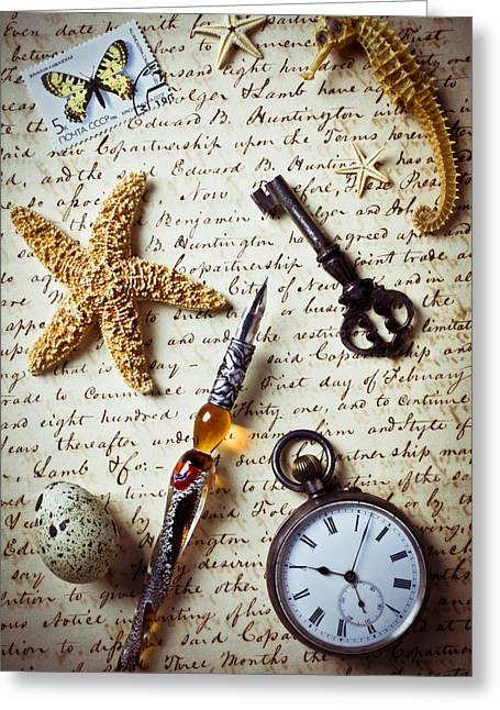 Script Greeting Cards - Old letter with pen and starfish Greeting Card by Garry Gay
