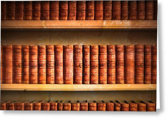 Shelf Greeting Cards - Old library Greeting Card by Tom Gowanlock