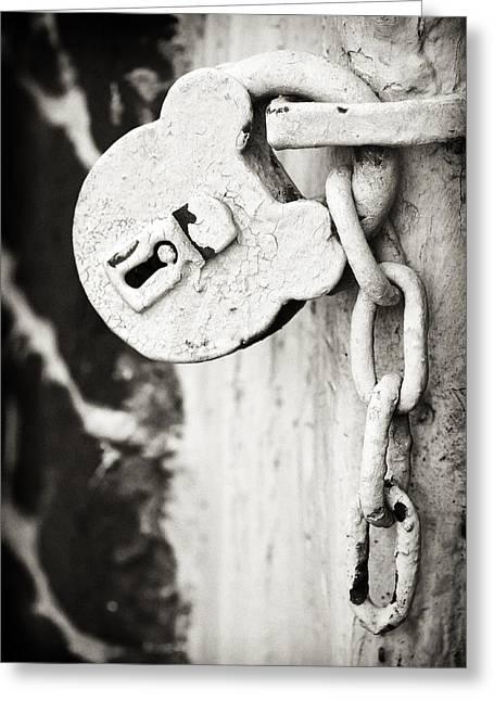 Old Lock Greeting Cards - Old Lock Greeting Card by Patrick M Lynch