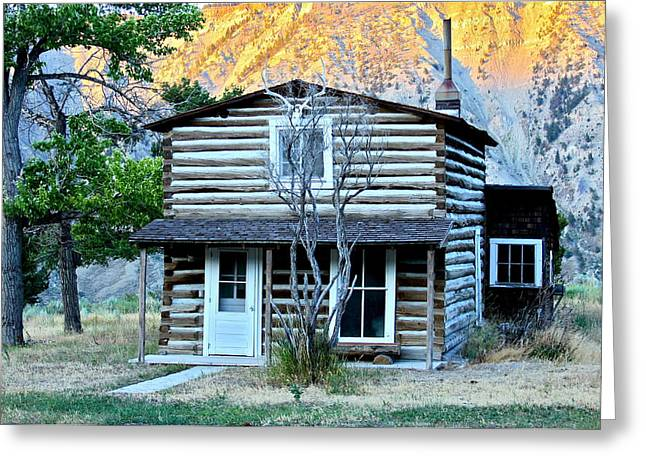 Old Log Cabin In Yellowstone Greeting Card by Karon Melillo DeVega