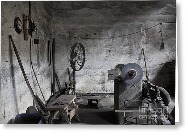 Copy Machine Greeting Cards - Old Machine Shop Interior Greeting Card by Shannon Fagan