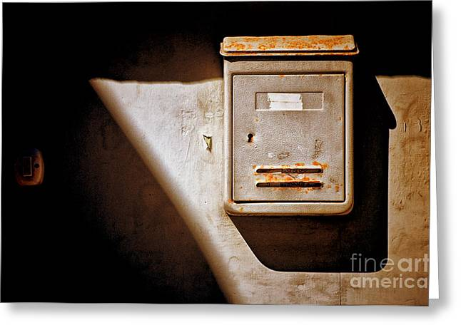 Doorbell Greeting Cards - Old mailbox with doorbell Greeting Card by Silvia Ganora