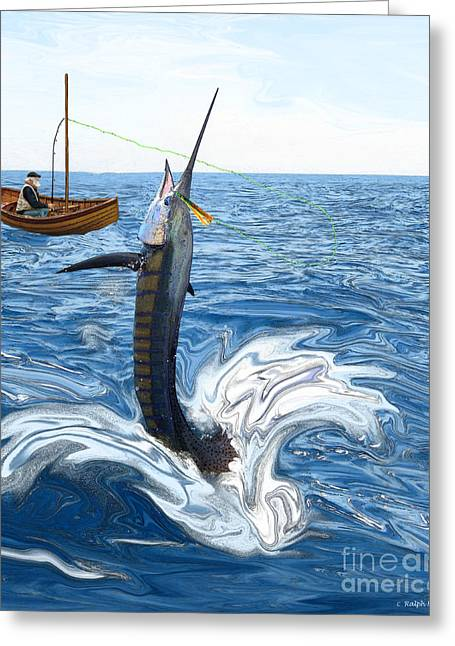 Sportfishing Greeting Cards - Old man and the Sailfish Greeting Card by Ralph Martens