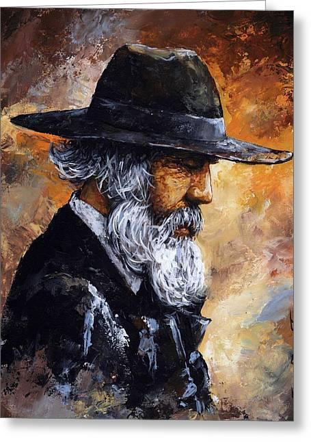 Rust Mixed Media Greeting Cards - Old Man Greeting Card by Emerico Imre Toth