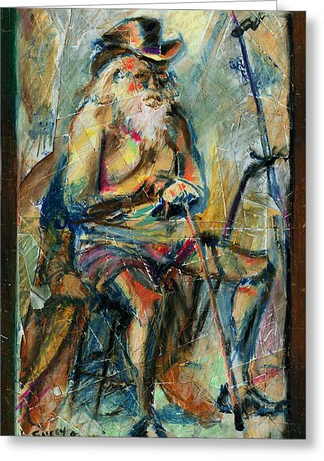 Oil Pastels Pastels Greeting Cards - Old Man in the Chair Greeting Card by David Finley