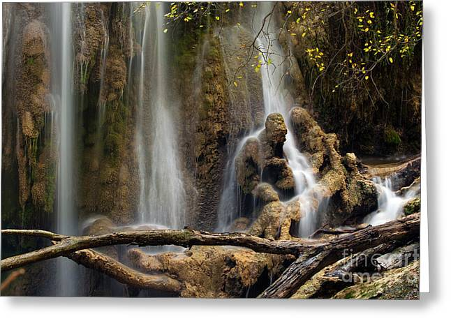Rock Face Greeting Cards - Old Man in the Falls Greeting Card by Keith Kapple