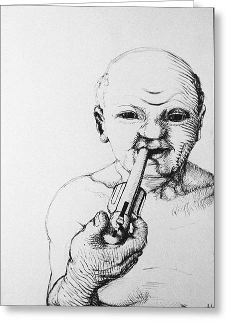 Breaking Rules Drawings Greeting Cards - Old Man Greeting Card by Louis Gleason