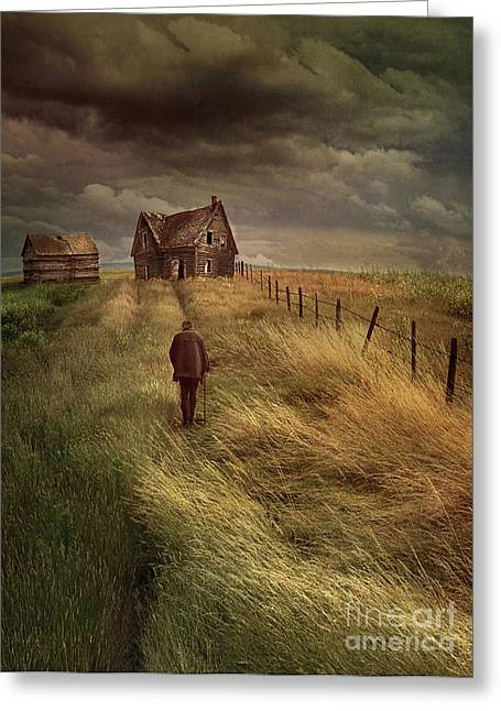 Alone Greeting Cards - Old man walking up a path of tall grass with abandoned house in  Greeting Card by Sandra Cunningham