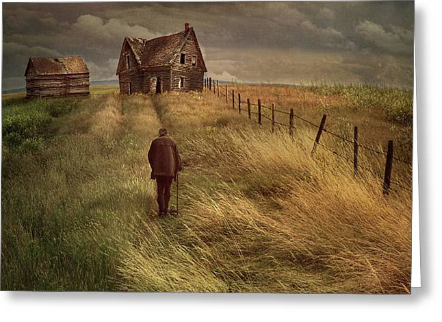 Old man walking up a path of tall grass with abandoned house in  Greeting Card by Sandra Cunningham