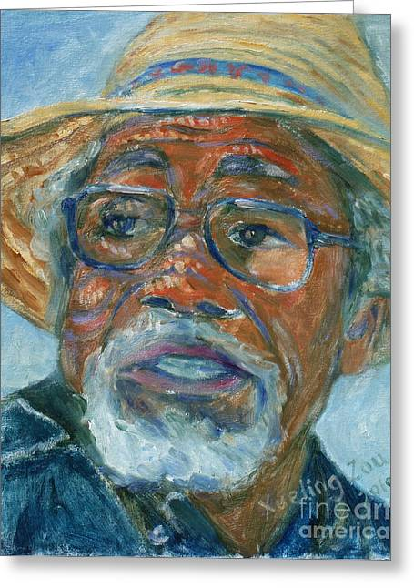 Oakland Paintings Greeting Cards - Old Man Wearing A Hat Greeting Card by Xueling Zou