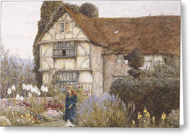English Greeting Cards - Old Manor House Greeting Card by Helen Allingham