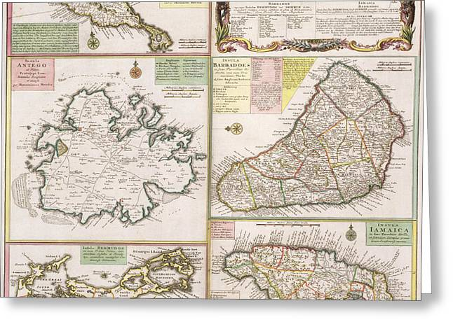 West Indies Greeting Cards - Old Map of English Colonies in the Caribbean Greeting Card by German School