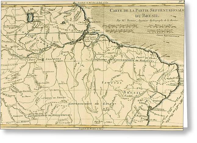 Brasil Greeting Cards - Old Map of Northern Brazil Greeting Card by Guillaume Raynal