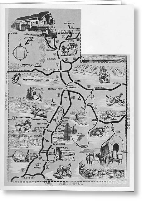 Old Map Of Utah Greeting Card by Juls Adams