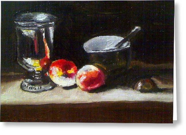 Old Master Still Life Apples And Bowl Greeting Card by Dawn marie  Nabong