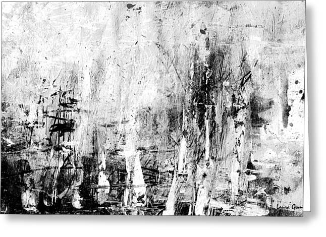 Negro Drawings Greeting Cards - Old Memories Abstract by Laura Gomez -Horizontal Size Greeting Card by Laura  Gomez