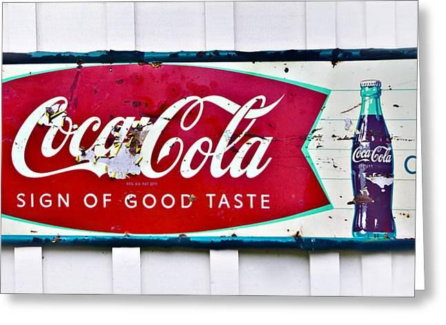 Old Metal Coke Sign Greeting Card by Susan Leggett