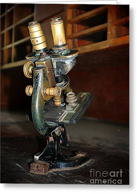 Microbiology Greeting Cards - Old Microscope Greeting Card by Henrik Lehnerer