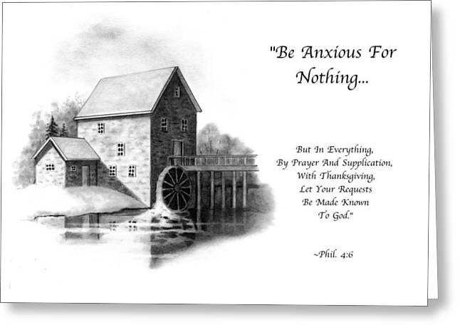 Flour Drawings Greeting Cards - Old Mill in Pencil With Bible Verse Greeting Card by Joyce Geleynse