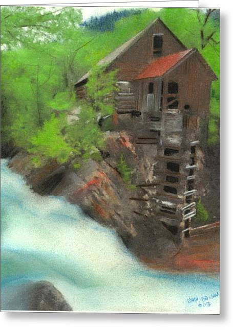 Mills Pastels Greeting Cards - Old Mill Greeting Card by John Brisson