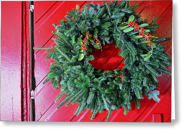 Old Mill Of Guilford Door Wreath Greeting Card by Sandi OReilly