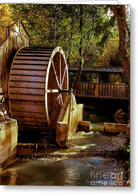 Old Mill Park Wheel Greeting Card by Robert Bales