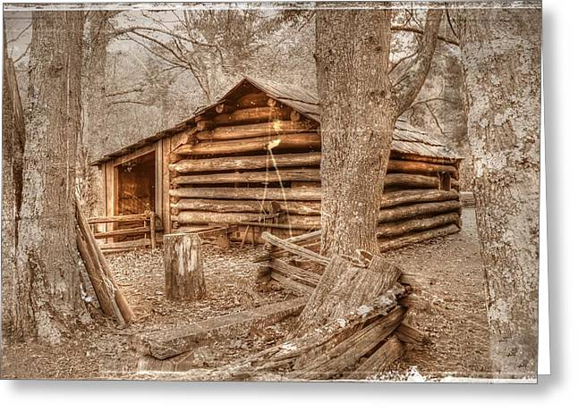 Pioneer Homes Digital Greeting Cards - Old Mill Work Cabin Greeting Card by Dan Stone