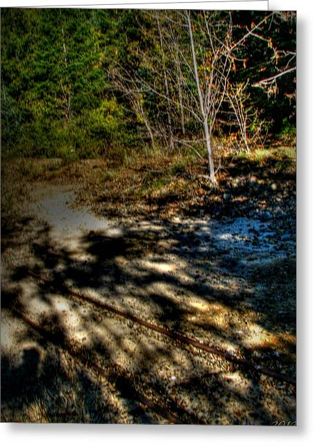 Prescott Greeting Cards - Old Mining Cart Tracks Greeting Card by Aaron Burrows