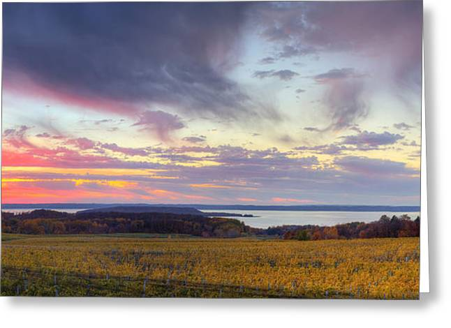 Traverse City Greeting Cards - Old Mission Sunset Greeting Card by Twenty Two North Photography