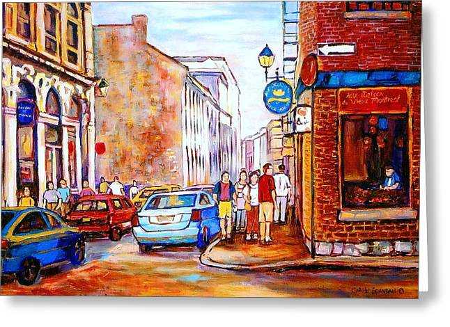 Resto Cafes Greeting Cards - Old Montreal Paintings Calvet House And Restaurants Greeting Card by Carole Spandau