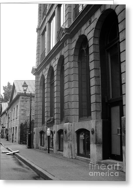 Historical Buildings Greeting Cards - Old Montreal Street Scene Greeting Card by Reb Frost