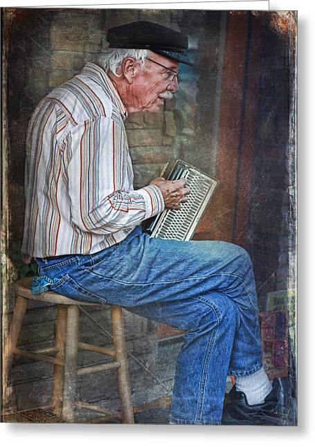 Citizens Mixed Media Greeting Cards - Old Musician Greeting Card by Maria Dryfhout