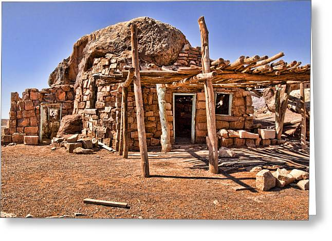 Stone House Greeting Cards - Old Navajo Stone House Greeting Card by Jon Berghoff