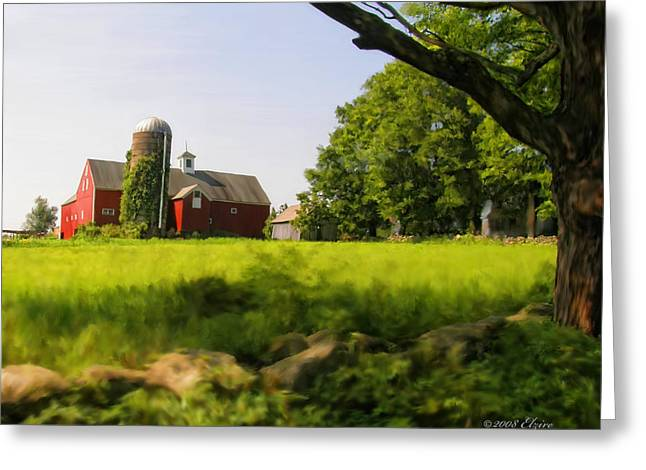 Old Barns Greeting Cards - Old New England Farm Greeting Card by Elzire S