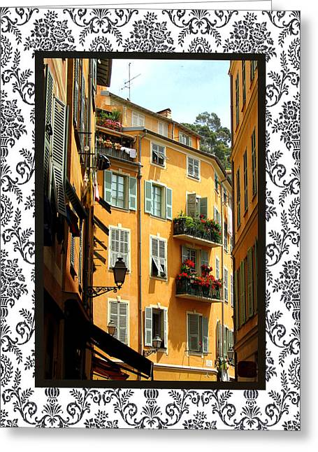 Cours Saleya Greeting Cards - Old Nice with border Greeting Card by Carla Parris