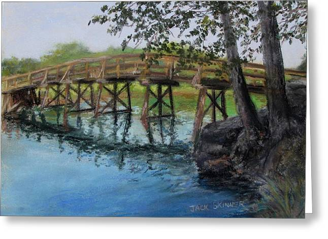 Revolutionary War Pastels Greeting Cards - Old North Bridge in Pastel Greeting Card by Jack Skinner