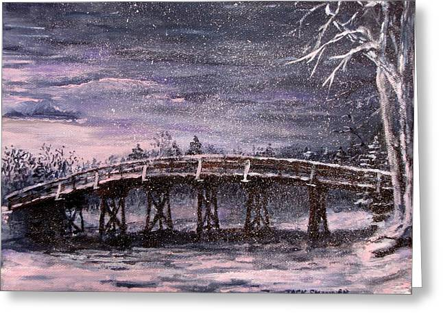 New England Snow Scene Paintings Greeting Cards - Old North Bridge in Winter Greeting Card by Jack Skinner
