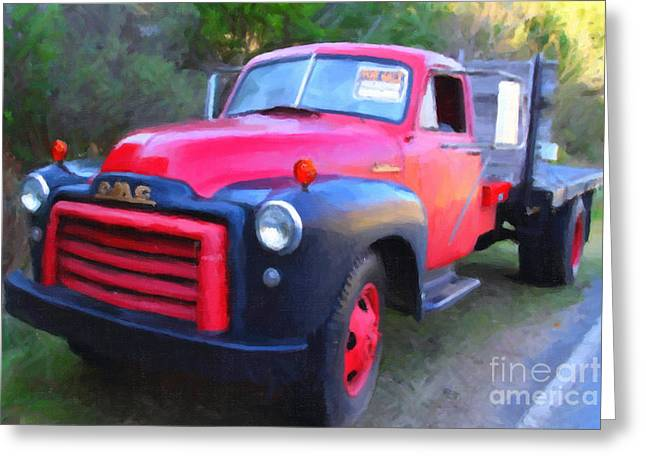 Old Nostalgic American GMC Flatbed Truck . 7D9821 . Photo Art Greeting Card by Wingsdomain Art and Photography