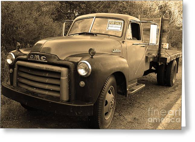 Old Nostalgic American GMC Flatbed Truck . 7D9821 . Sepia Greeting Card by Wingsdomain Art and Photography