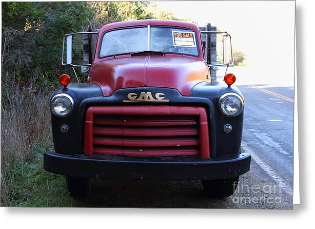 Old Nostalgic American GMC Flatbed Truck . 7D9823 Greeting Card by Wingsdomain Art and Photography