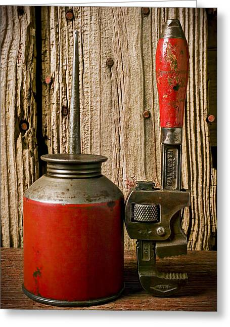 Old Oil Can And Wrench Greeting Card by Garry Gay