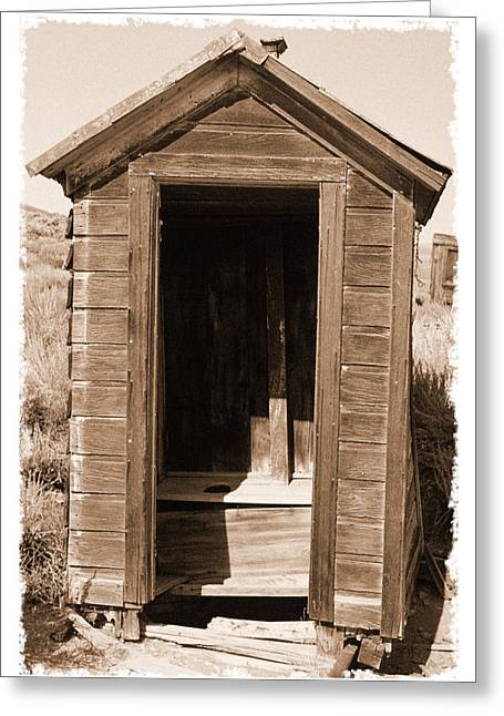 Historic Site Greeting Cards - Old Outhouse in Bodie Ghost Town California Greeting Card by George Oze