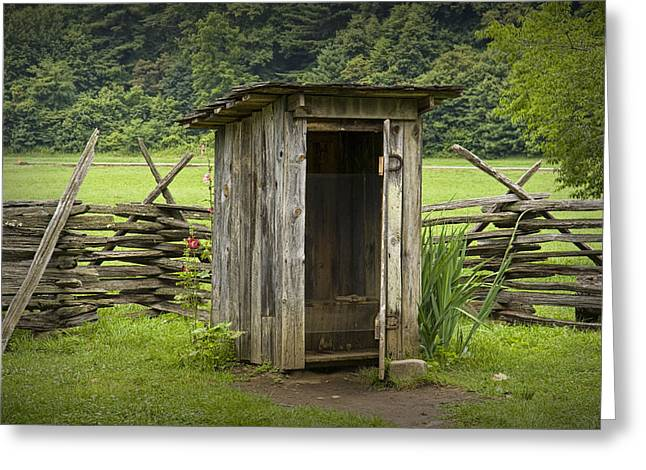 Split Rail Fence Greeting Cards - Old Outhouse on a Farm in the Smokey Mountains Greeting Card by Randall Nyhof