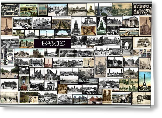 Golds Pyrography Greeting Cards - Old Paris Collage Greeting Card by Janos Kovac
