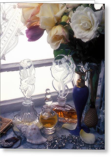 Old Window Greeting Cards - Old Perfume Bottles Greeting Card by Garry Gay