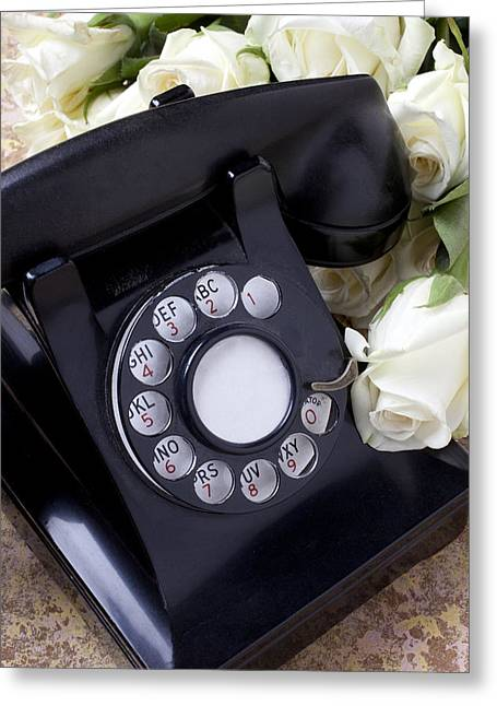 Communications Greeting Cards - Old phone and white roses Greeting Card by Garry Gay