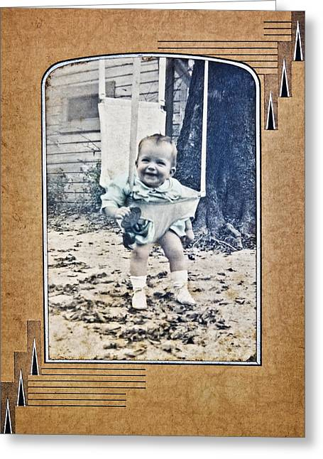 Old Photo Of A Baby Outside Greeting Card by Susan Leggett