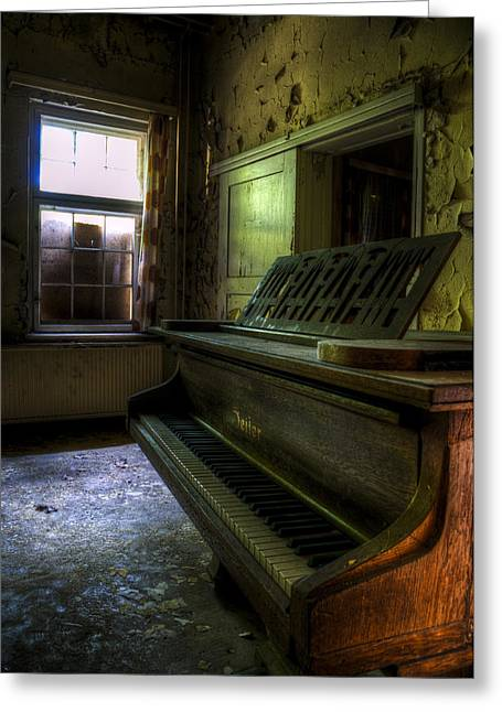 Glass Wall Greeting Cards - Old piano Greeting Card by Nathan Wright