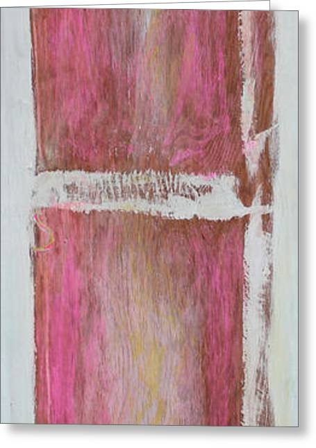 Old Pink Kitchen Door Emanating Light Greeting Card by Asha Carolyn Young