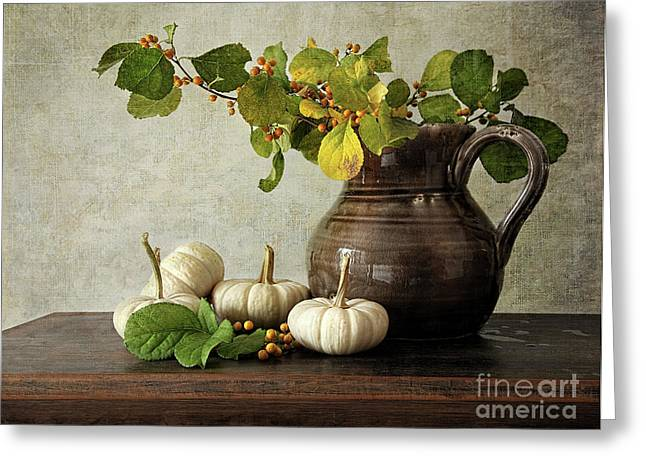 Pumpkins Greeting Cards - Old pitcher with gourds Greeting Card by Sandra Cunningham